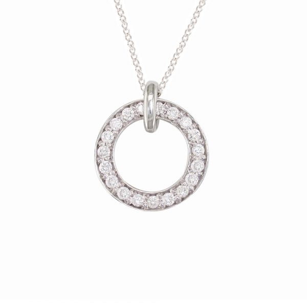 Chic white gold diamond Meridian large pendant