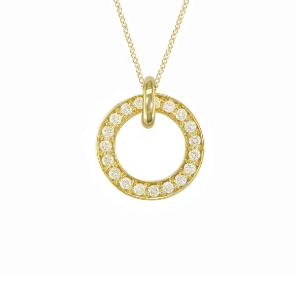 Fine yellow gold diamond Meridian large pendant