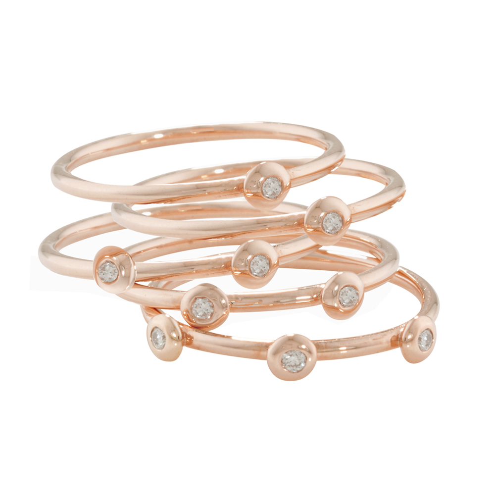 Chic Rose Gold Diamond 5 Raindrop Stack Rings