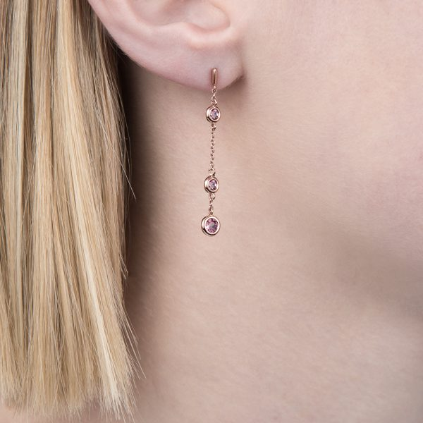 Rose gold pink tourmaline dew drop earrings