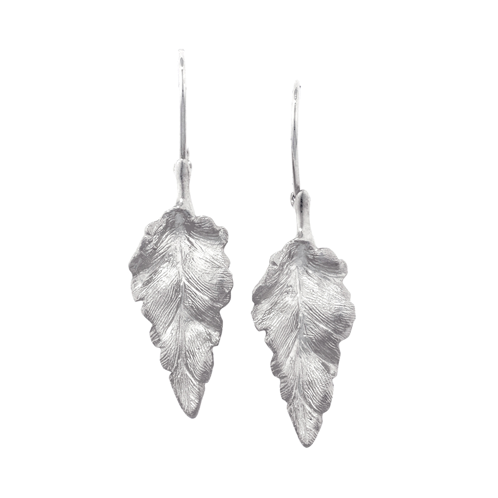 Silver Kew leaf drop earrings