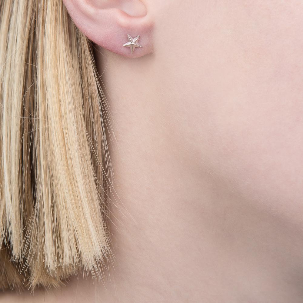 Silver 3D star stud earrings