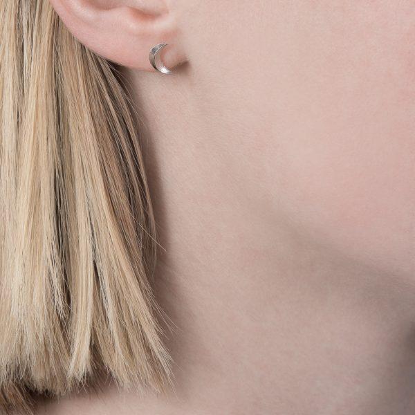 Silver 3D moon stud earrings