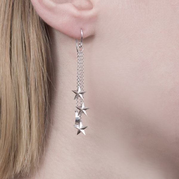 Silver 3D moon stars drop earrings