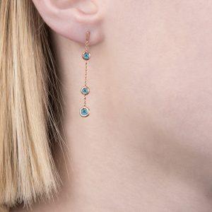 Rose gold blue topaz Dew Drop earrings