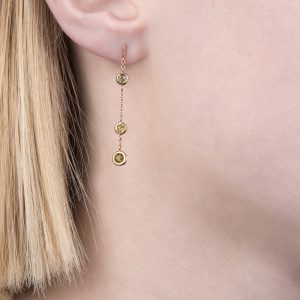 Rose gold peridot dew drop earrings