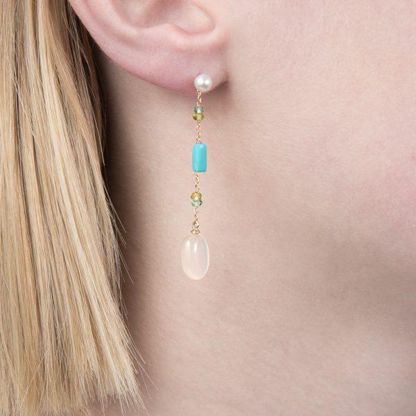Yellow gold multi gem drop earrings