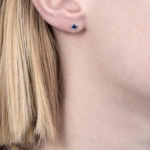 White gold sapphire raindrop stud earrings