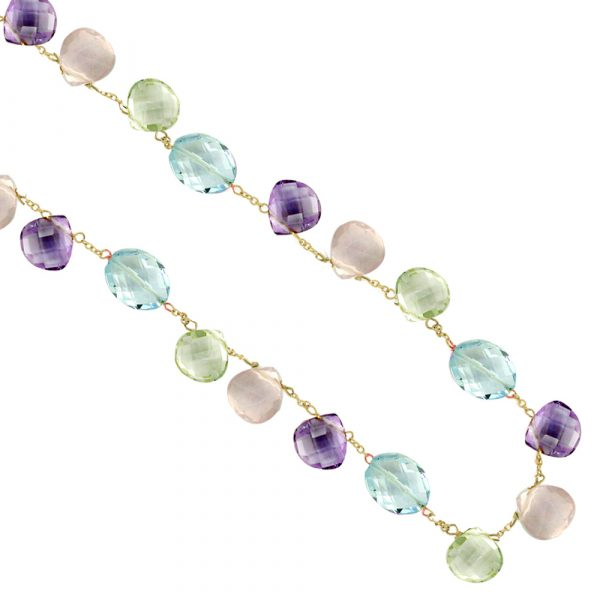 Topaz, Rose quartz, Green and Purple Amethyst Necklace