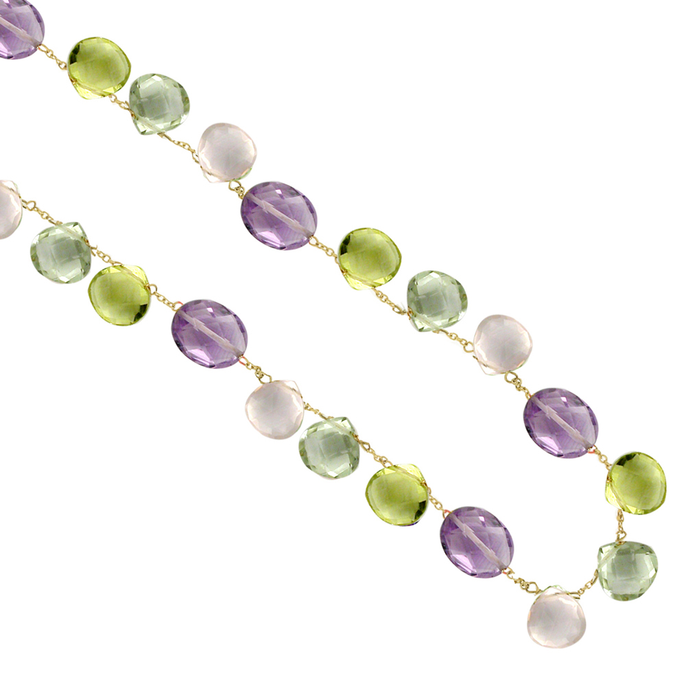 Yellow gold amethyst rose quartz green amethyst lemon quartz necklace