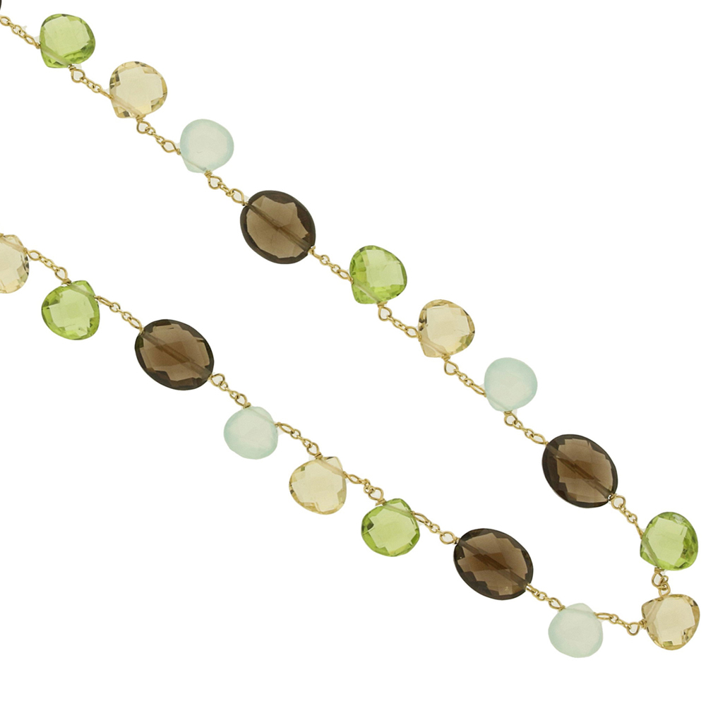 Yellow gold smoky quartz green blue necklace