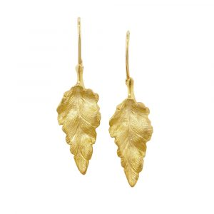 Yellow gold golden leaf drop earrings