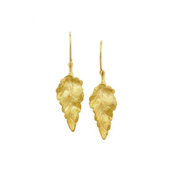 Luxury yellow gold golden leaf Kew drop earrings