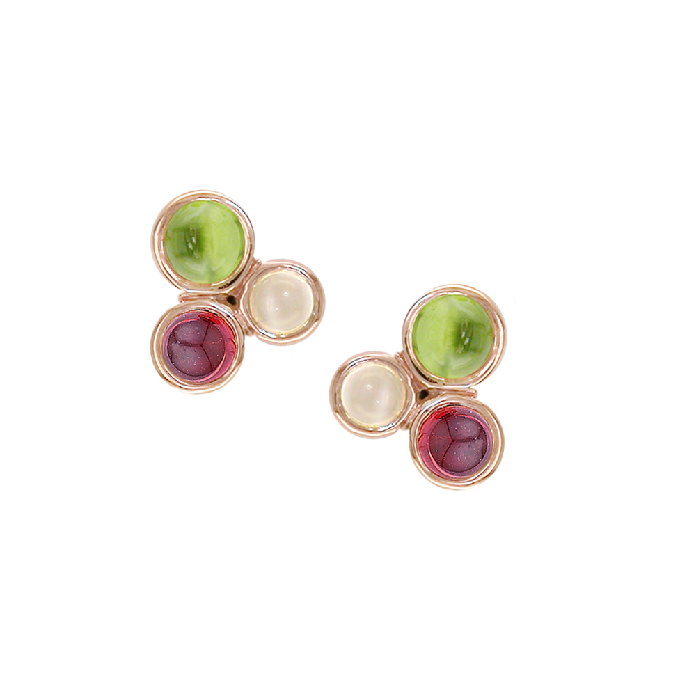 Pimlico rose gold peridot, moonstone, garnet Bubble earrings