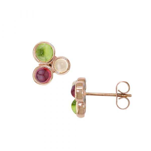 Rose gold peridot, moonstone, garnet Bubble earrings