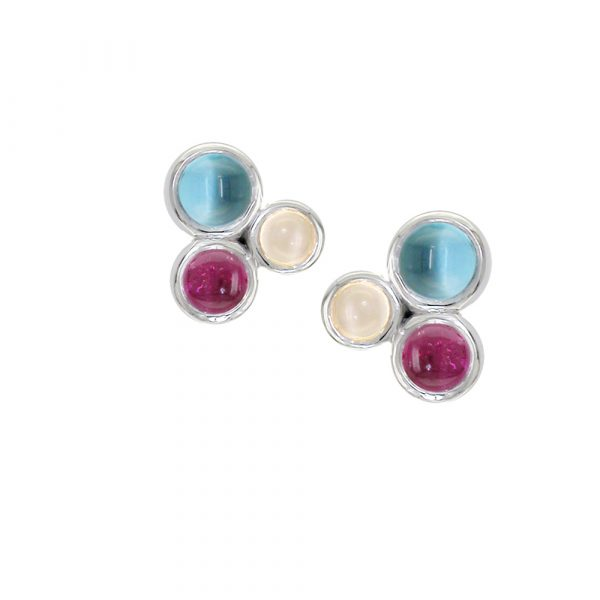 White gold cabouchon moonstone, blue topaz, pink tourmaline Bubble earrings