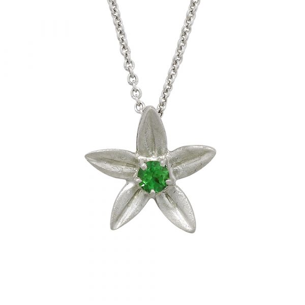 White gold tsavorite garnet Starflower pendant