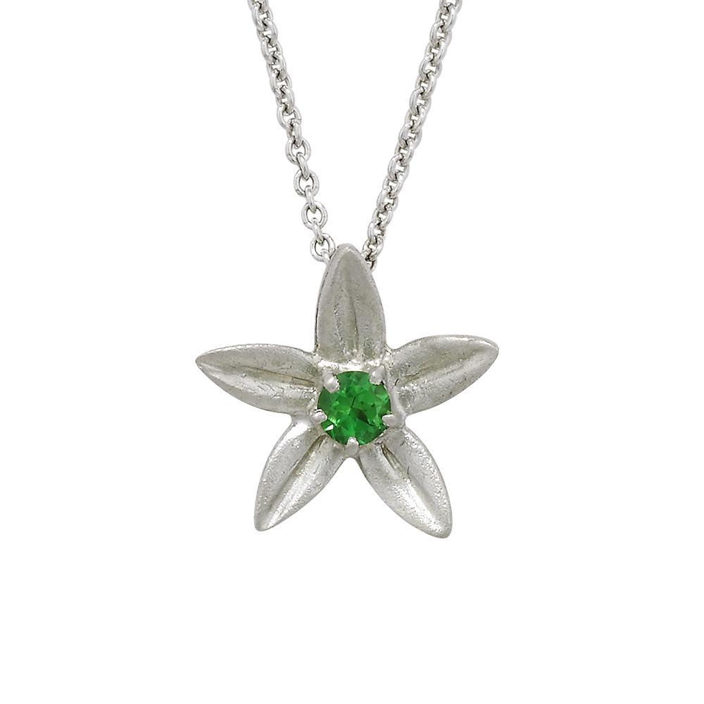 White gold tsavorite garnet Starflower pendant