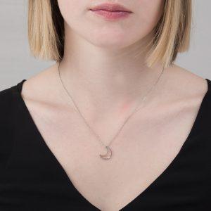 Silver open moon pendant