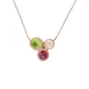 Rose gold peridot, moonstone, garnet Bubble necklace