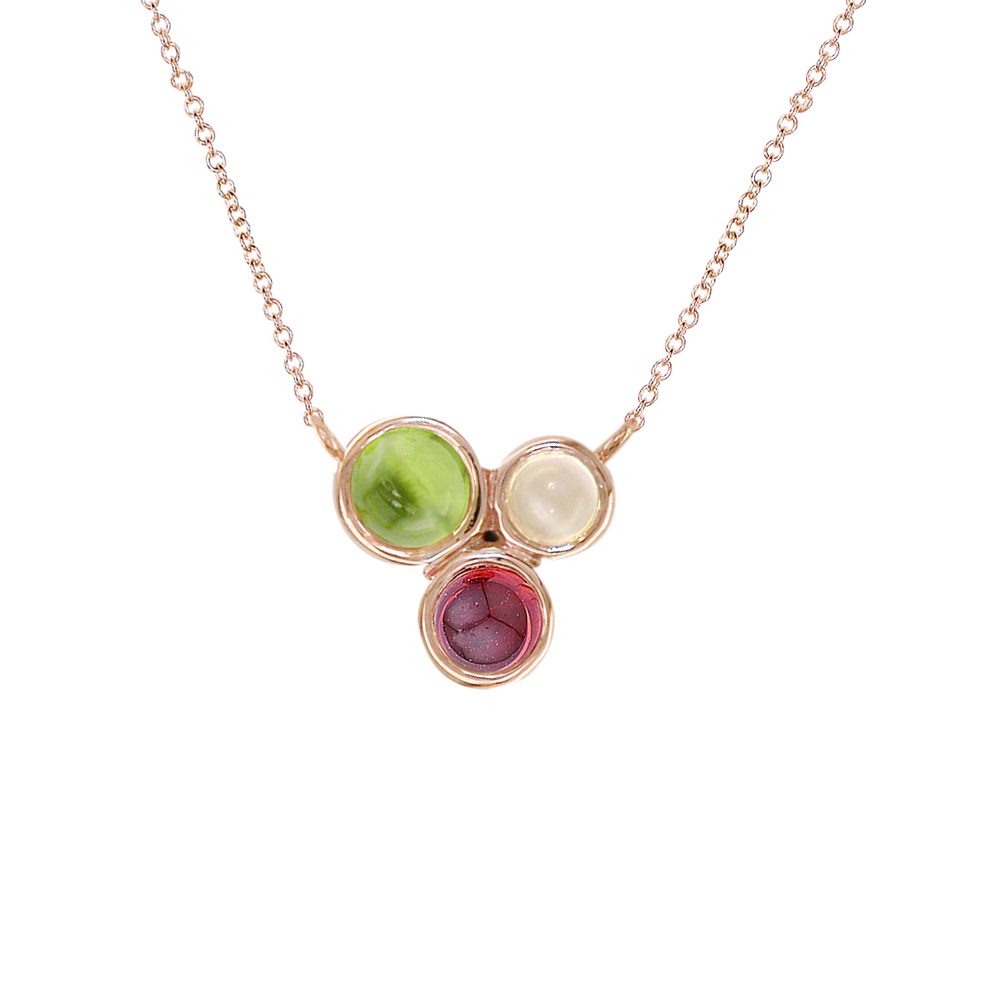Rose gold peridot, moonstone, garnet Bubble necklace
