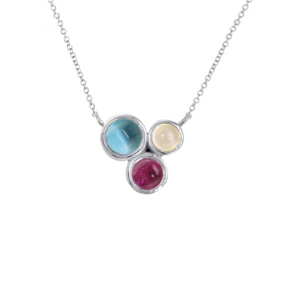 White gold multi gem moonstone, blue topaz, pink tourmaline Bubble pendant