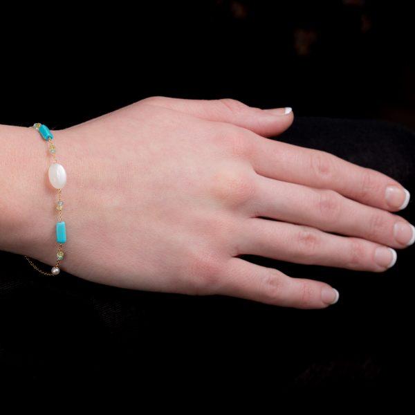 Yellow gold multi gem stone bracelet