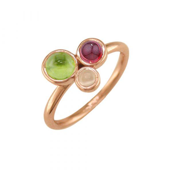 Rose gold garnet, moonstone and peridot ring