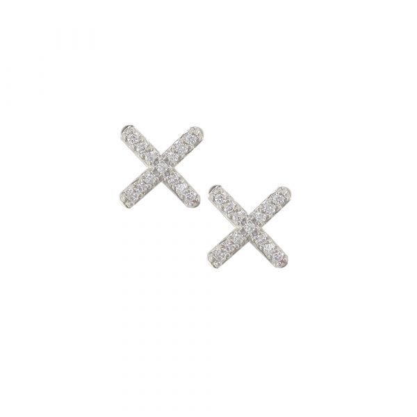 18ct white gold diamond Geo Kiss stud earrings