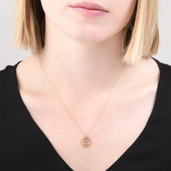 Yellow gold diamond initial B pendant