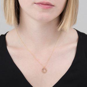 Yellow gold diamond initial D pendant