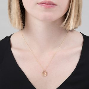 Yellow gold diamond initial H pendant