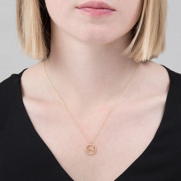 Yellow gold diamond initial H pendant