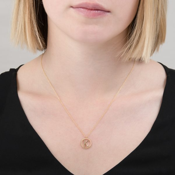 Yellow gold diamond initial K pendant
