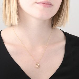 Yellow gold diamond initial M pendant