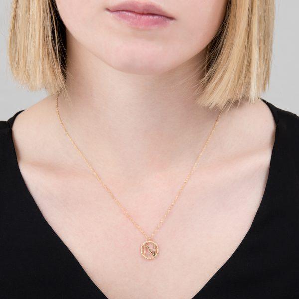 Yellow gold diamond initial N pendant