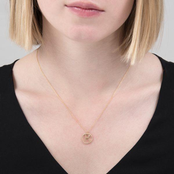 Yellow gold diamond initial R pendant