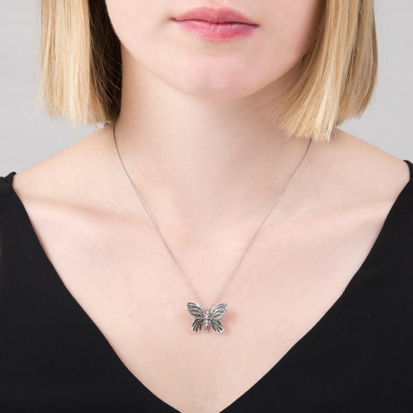 Silver black diamond butterfly pendant