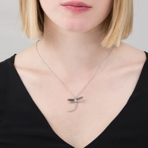 Silver black diamond dragonfly pendant