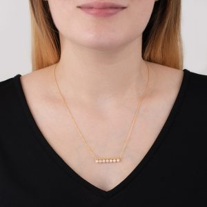 yellow gold cultured freshwater pearl bar necklace