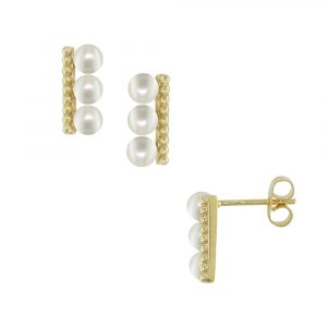 Yellow gold pearl stud earrings