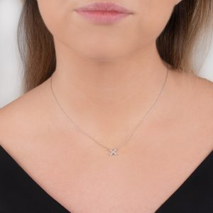White gold diamond kiss Geo necklace