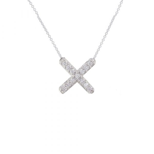 Geometric white gold diamond necklace