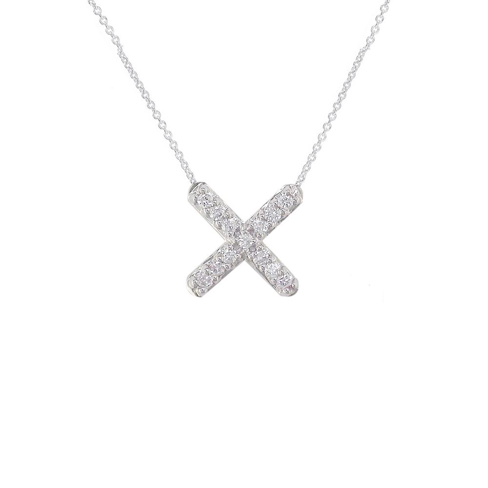 Geometric white gold diamond necklace
