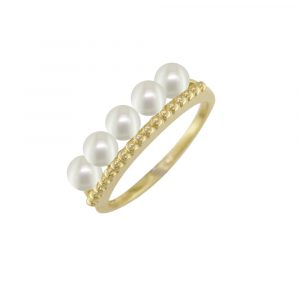 Yellow gold cultured pearl ring