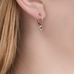 Rose gold blue topaz dew drop hoop earrings