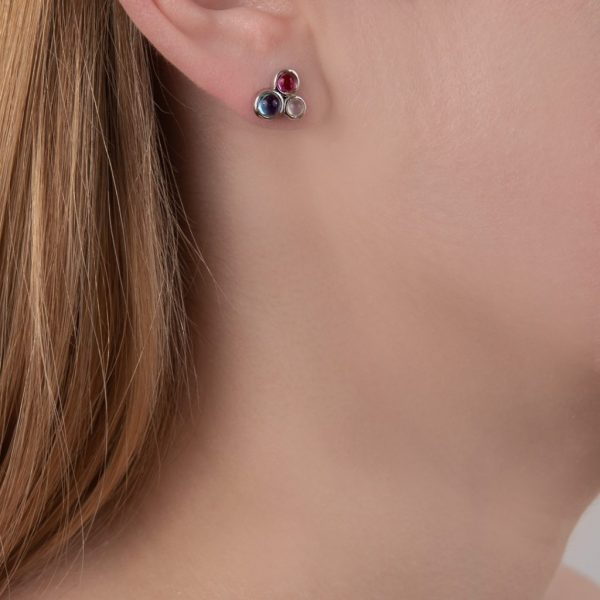 White gold blue topaz pink tourmaline moonstone stud earrings