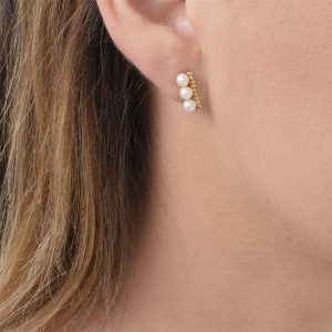 Yellow gold three pearl twist bar stud earrings