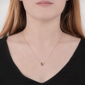 Rose gold garnet, peridot, moonstone necklace