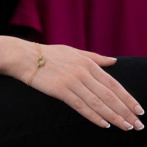 Yellow gold tsavorite garnet Meridian bracelet